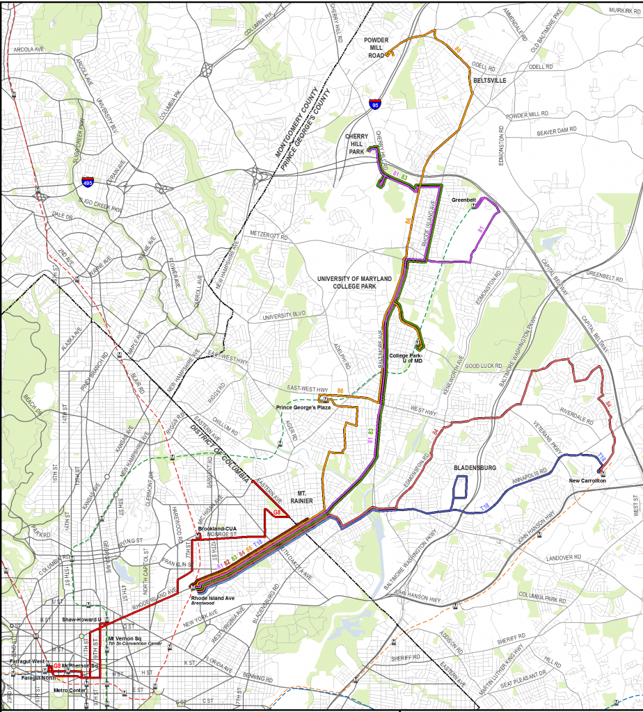 Rhode Island Ave Line Existing Routes 062013